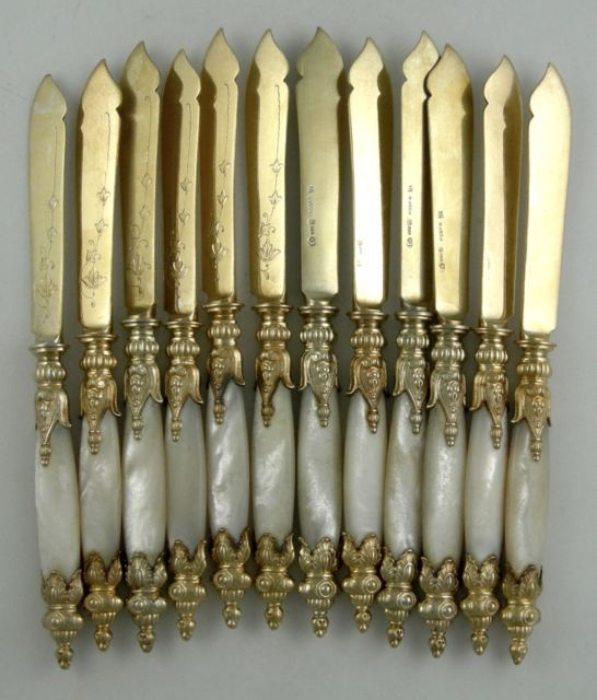 Silver Knife Set With Mother Of Pearl Handles