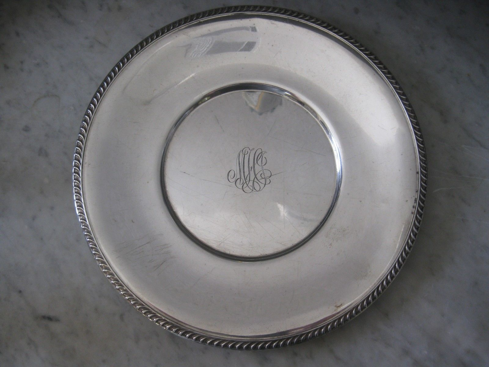Antique Sterling Silver Plate Charger