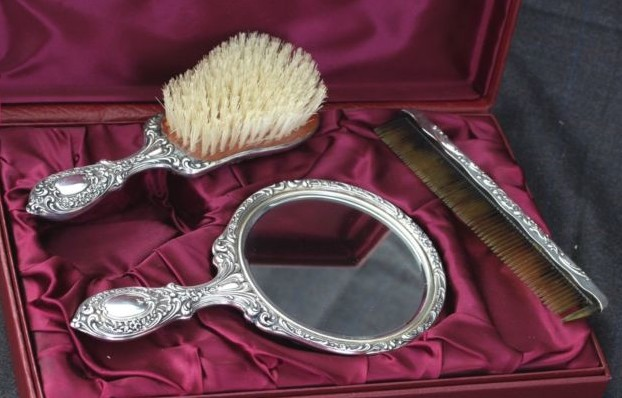 Silver Vanity Mirror And Brush Sets