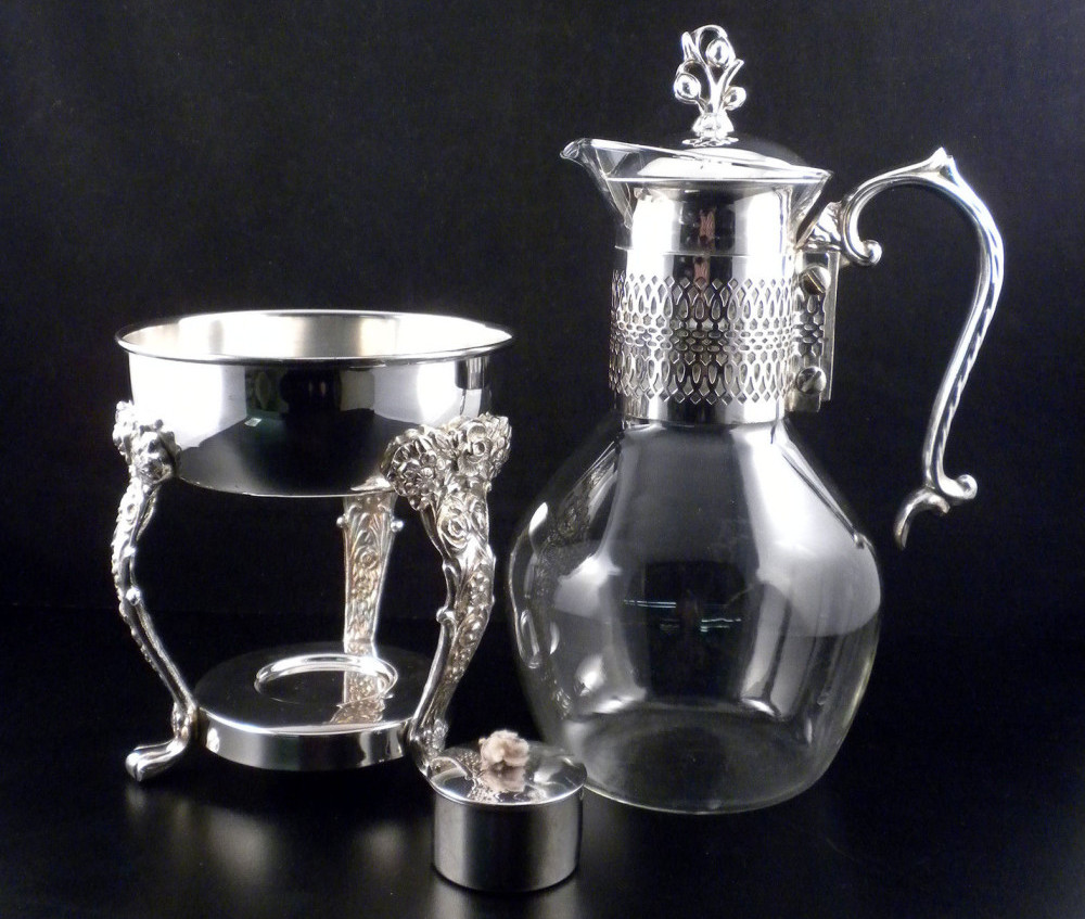Antique Silver And Glass Coffee Carafe