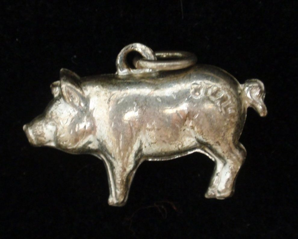 Antique Sterling Silver Pig Charms