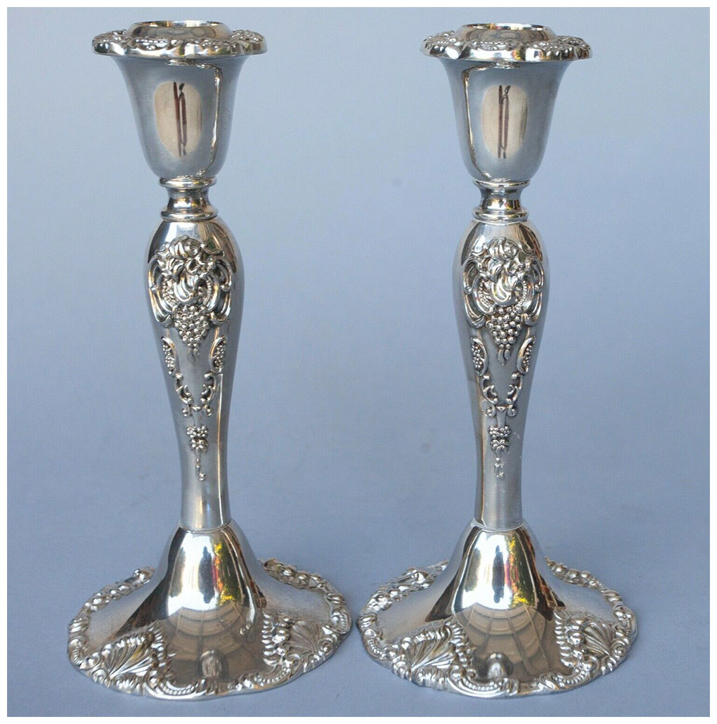 Grande Baroque Silver Candle Holders
